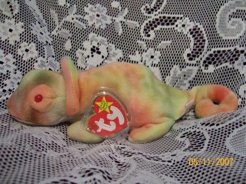 TY Beanie Baby - RAINBOW the Chameleon (tye-dyed) - 1