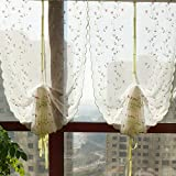 2 Packs Fresh Green Ivy Balloon Shades Embroidery Flower Window Curtains