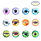 Pandahall 20PCS 12x4mm Mixed Evil Eye Printed Dome Glass Cabochons, Half Round Flatback