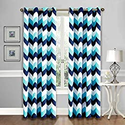 Flamingo P Unlined Curtains, Nursery Drapes, Sold by Pair, each Panel 84 by 52 inch, Navy & Blue, 85% Light Block, Ultimately Soft Handy Feeling