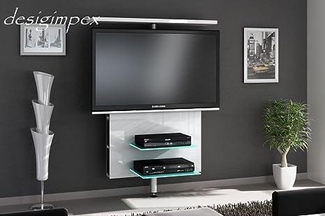 TV Wand H-999 Weiß Hochglanz drehbar TV Rack LCD inkl. TV-Halterung LED Beleuchtung