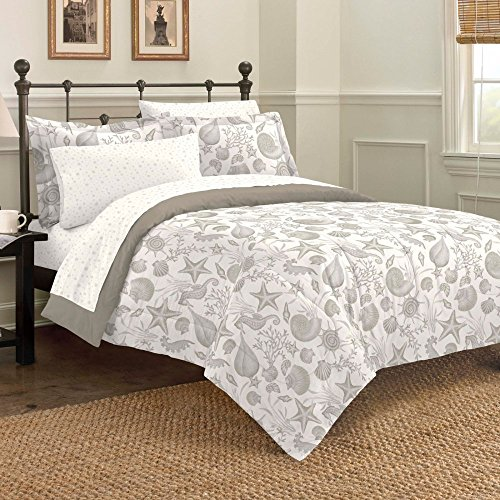 Discoveries Deep Sea Ocean Seashell Bedding Comforter Set, Queen, Taupe (Beach Quilts Queen Size compare prices)