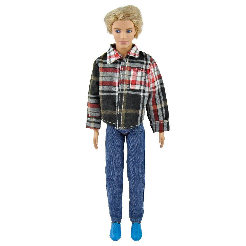 E-TING Handmade Plaid Jacket Denim Pants Casual Wears Outfit For Ken Barbie Doll bestellen