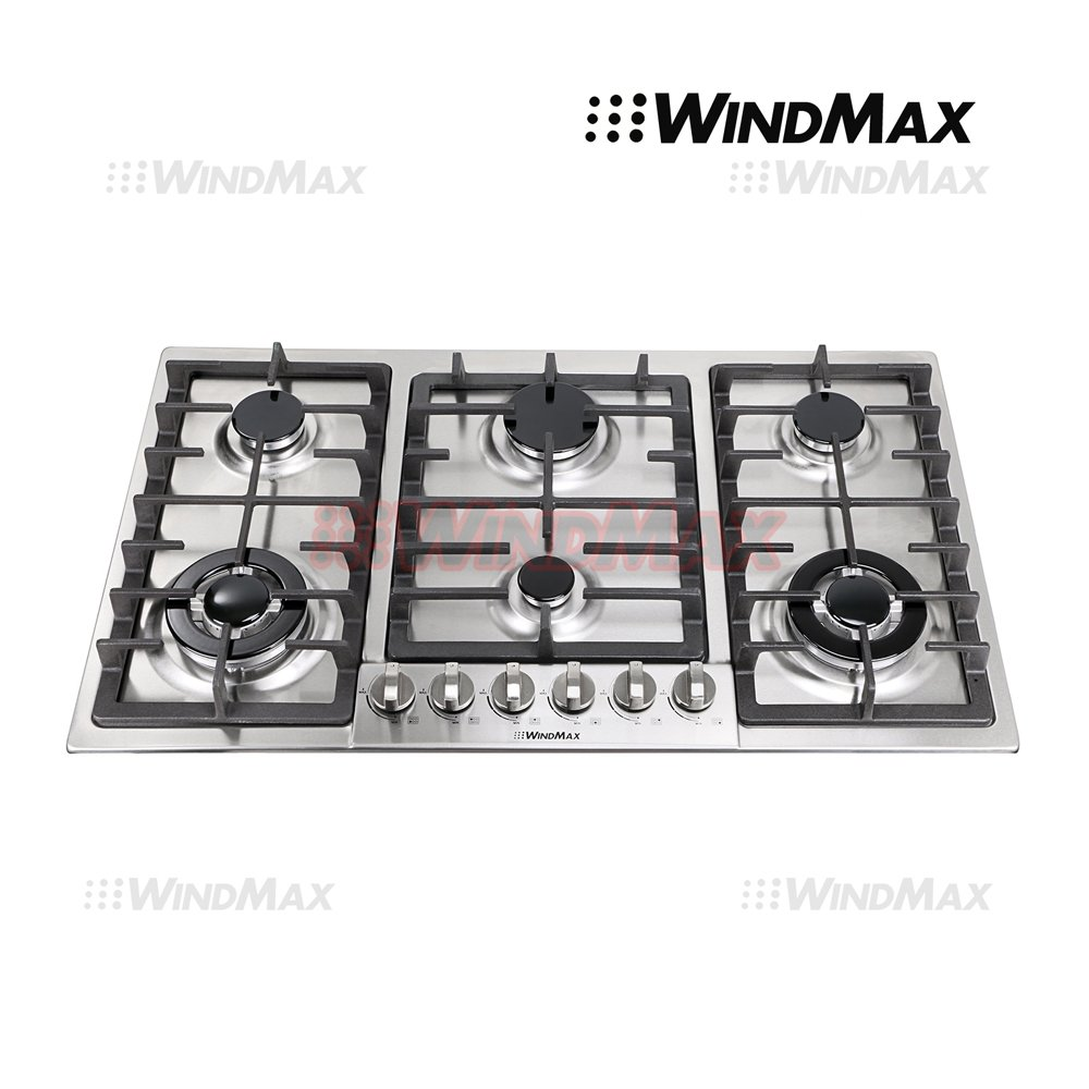 "WindMax® Euro Style 34"" Stainless Steel 6 Burner Built-In Stoves NG Gas Cooktops Cooker"