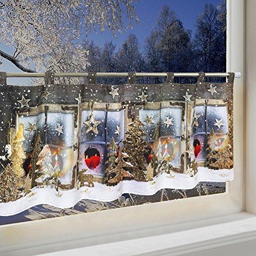 Gardinen Weihnachten.Kaufen Led Scheibengardine Winterlandschaft Für Küche Und