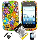 4 items Combo: ITUFFY (TM) LCD Screen Protector Film + Mini Stylus Pen + Case Opener + Design Rubberized Snap on Hard Shell Cover Faceplate Skin Phone Case for ZTE Fury N850, ZTE Director N850L, and ZTE Valet Z665C, Android Smartphone (Color Daisy Flower)