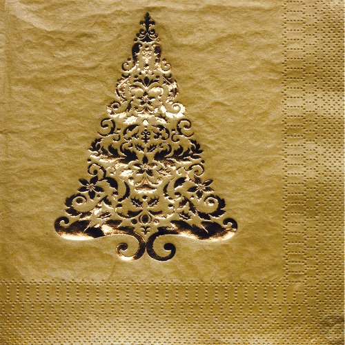 Creative Converting Glitz Gold Foil Stamped Lunch Napkins, 16 Count