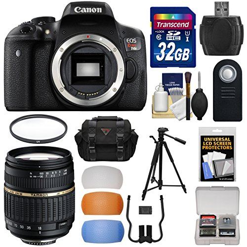 Canon EOS Rebel T6i Wi-Fi Digital SLR Camera Body with 18-200mm XR Lens + 32GB Card + Case + Filter + Tripod + Diffusers + Kit