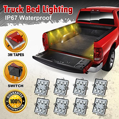 Partsam 8pcs Pick Up Truck Bed / Rear Work Box - 48 Amber LED Lighting System Light Kit (Chevrolet Silverado 1500 Parts compare prices)
