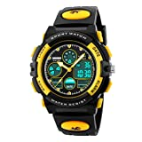 Boys Watch Digital Outdoor Sports 50M Waterproof Watches Boys Girls Children's Analog Quartz Wristwatch with Alarm - Black Yellow (Color: Black Yellow)