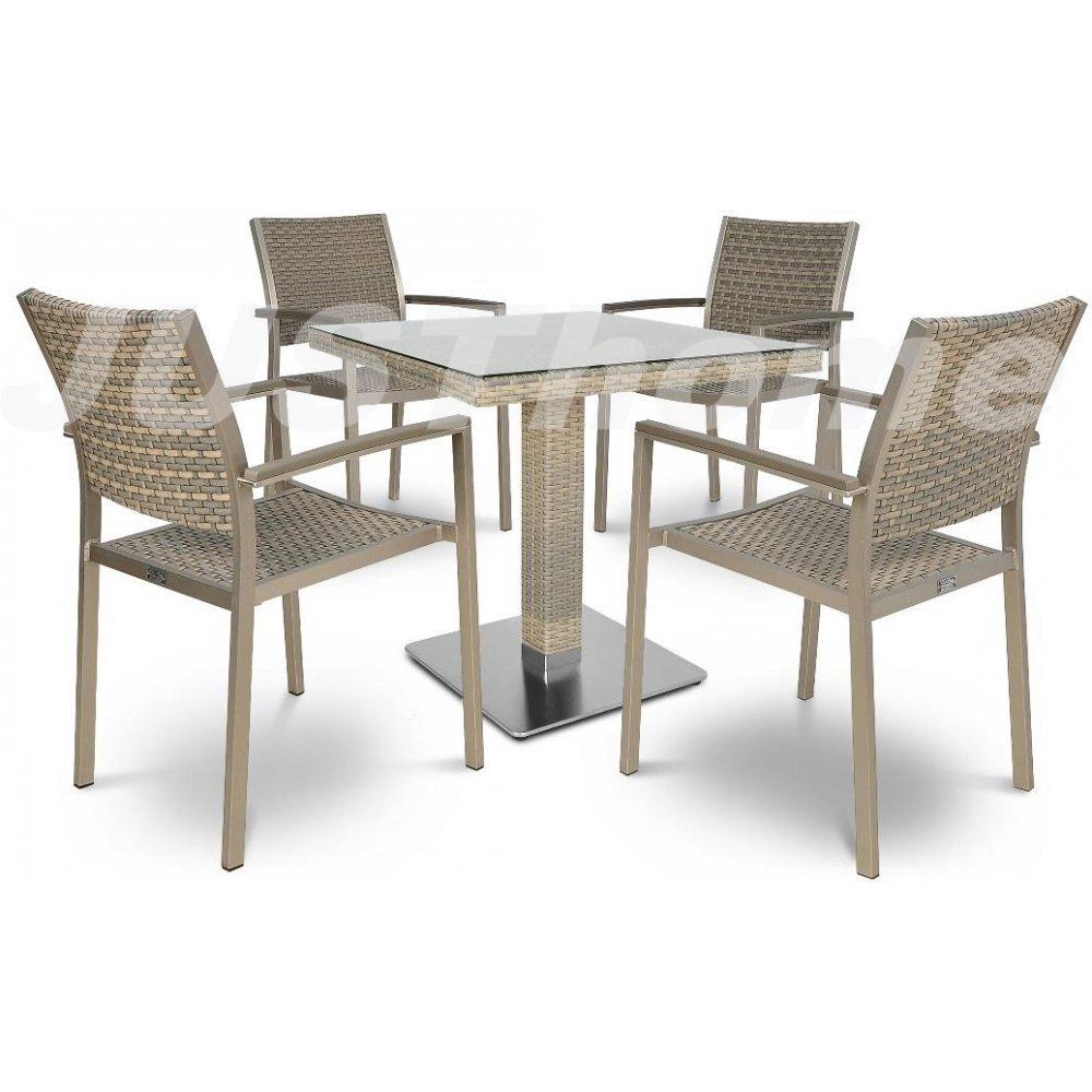 JUSThome Gartenmöbel Sitzgruppe Diana/Polina 80x80 4x Stuhl + Glastisch Farbe: Grau