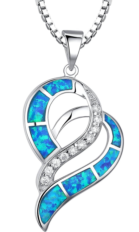 Arco Iris Schmuck Sterling Silber Valentine Herz mit Erstellt Blau und Grün Feu