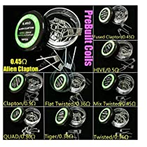 KAHIOE 9 Types/Lot Pre Built Coils Alien Fused Clapton Flat Mix Twisted Hive Quad Tiger (9Types/Pack)
