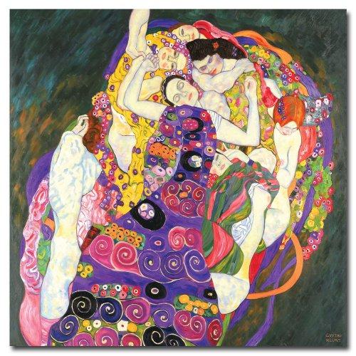 Trademark Fine Art Virgins By Gustav Klimt Canvas Wall Art, 24X24-Inch front-797891
