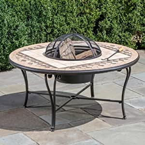 Alfresco Home Basilica Mosaic Fire Pit and Beverage Cooler Table