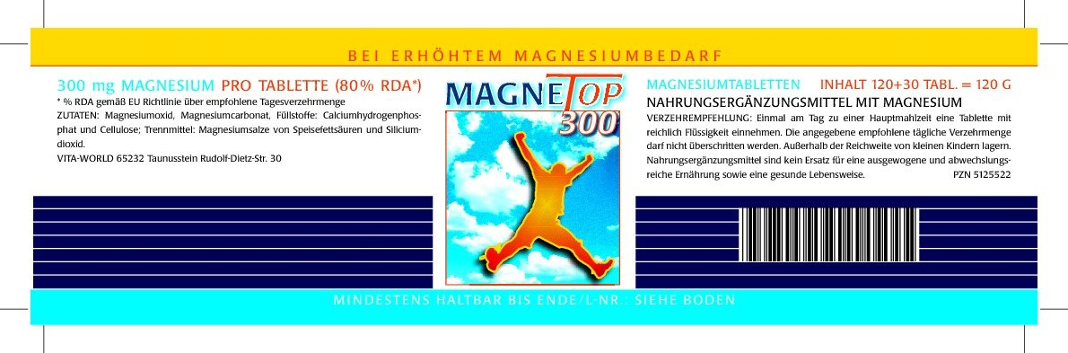 Magnetop 300mg 120 Tablets Vita World German pharmacy production cvs pharmacy radiance lutein 20 mg 60 softgels