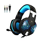 KOTION EACH G1000 3.5mm Professional Bass Stereo PC Gaming Headset Noise Isolation Over-Ear LED Headphones with Mic for Laptop Computer PS4 (Color: G1000)