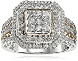 10k Rose Gold Plated White Gold Diamond (0.75cttw, I-J Color, I2-I3 Clarity) Ring