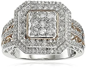 10k White Gold Diamond Ring with Rose Gold Plated (3/4 cttw), Size 7