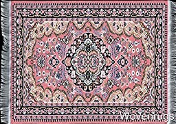 Pink Woven Rug Mouse Pad - Persian Style Carpet Mouse Mat Mousemat