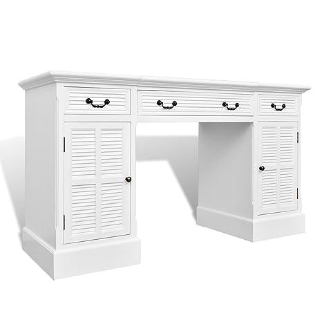 vidaXL Bureau blanc à double piédestal avec armoires et tiroirs