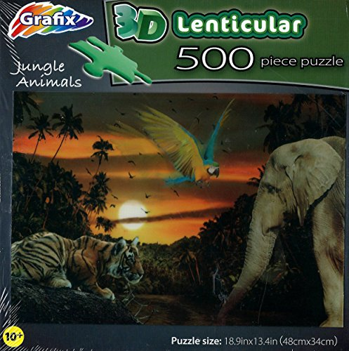 3D Lenticular Jungle Animals 500 Piece puzzle