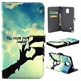 Note 4 Case,Vogue Shop Note 4 Wallet Case [Book Fold] Leather Galaxy Note 4 Cover [Flip Cover] with Foldable Stand, Pockets for ID, Credit Cards - Black Flip Case for Samsung Note 4 .Protective Samsung Galaxy Note 4 PU Leather Wallet Case with Foldable Kickstand and HD Screen Protector for Galaxy Note 4 Folio with Stand All-around TPU Inner Case and Snap Button Closure Stylish Pattern Design for Note 4 (You Made Me Complete)