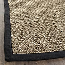 Safavieh Natural Fiber Collection NF114C Natural and Black Seagrass Runner, 2 feet 6 inches by 6 feet (2\'6\