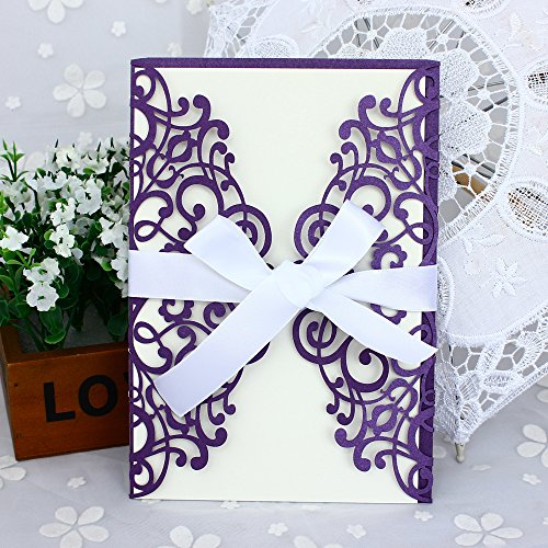 50-Pcs Exquisite Carving Wedding Invitation Kits with Silk Ribbon, Purple