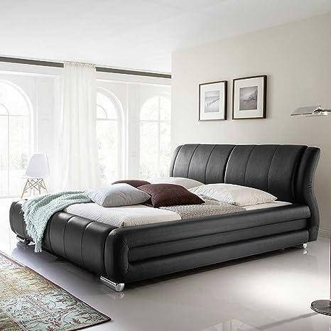 Kunstleder Bett in Schwarz modern Breite 190 cm Liegefläche 160x200 Pharao24