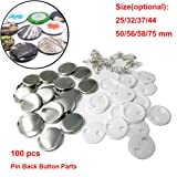 100 Sets Pin Back Button Parts for Badge Maker Machine Button Made DIY Crafts and Children's Craft Activities (25mm 1 inch) (Tamaño: 25mm 1 inch)