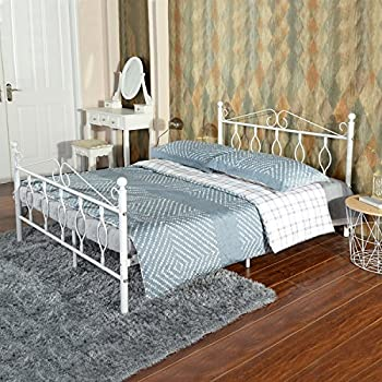 Green Forest GreenForest Full Bed Frame Metal Platform Complete Bed with Vintage Headboard and Footboard Box Spring Replacement Steel Slats Bed, White Full