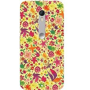 Casotec Floral Pattern Print Design Hard Back Case Cover for Motorola Moto X Play