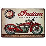 ERLOOD Metal Tin Sign Indian Motorcycle Retro Vintage Decor Metal Tin Sign 12 X 8