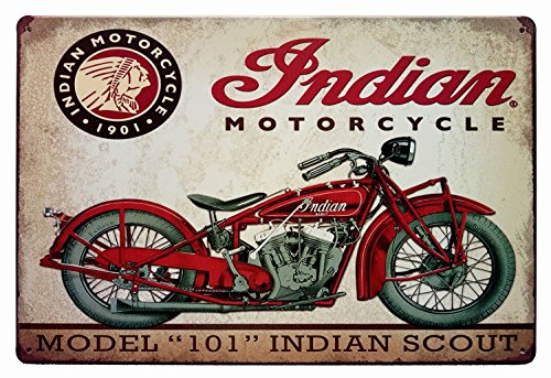 ERLOOD Metal Tin Sign Indian Motorcycle Retro Vintage Decor Metal Tin Sign 12 X 8 0
