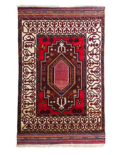 "Solo Rugs Tribal Collection Oriental Rug, Rust, 3' 10"" x 6' 1"""