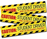 """Zento Deals """"Caution Student Driver and Screaming Parent"""" Car Magnet Funny New Driver Magnet 12"""" X 3"""" (3 Pack)"""