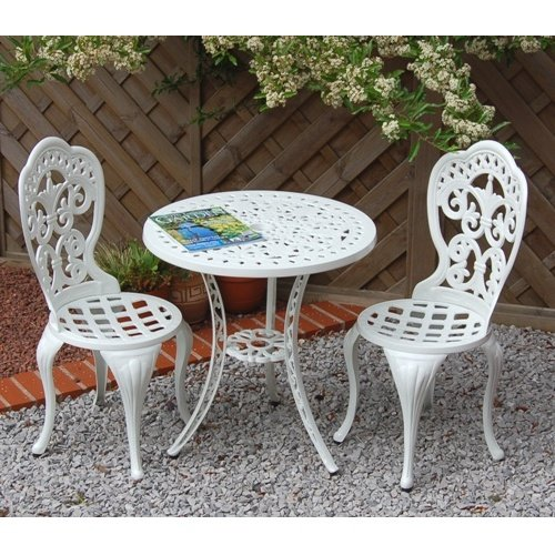 Home & Garden Direct Garden Furniture Patio Cast Aluminium Café Bistro Set White