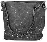 styleBREAKER Handtaschen Set mit Strassapplikation im Sternenhimmel Design, 2 Taschen 02012013, Farbe:Dunkelgrau
