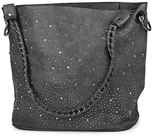 styleBREAKER-Handtaschen-Set-mit-Strassapplikation-im-Sternenhimmel-Design-2-Taschen-02012013-FarbeDunkelgrau