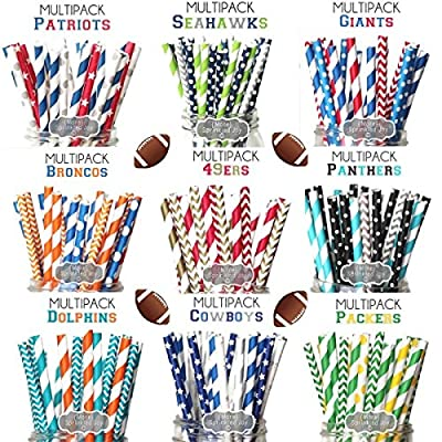 Designer Durable Disposable Drinking Paper Straws (25) Football