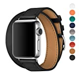 Apple Watch Band 38/42mm Leather Double Tour iwatch Strap Replacement Band with Stainless steel Adpter Clasp for Iphone Watch Series 3 Series 2 Series 1,Sport Edition ,Men Women (Black, 38mm)