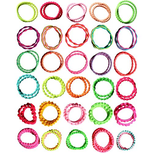 Kilofly Girls Elastic Hair Ties Ponytail Holders Bands Value Pack Set Of 60 Apparel Accessories