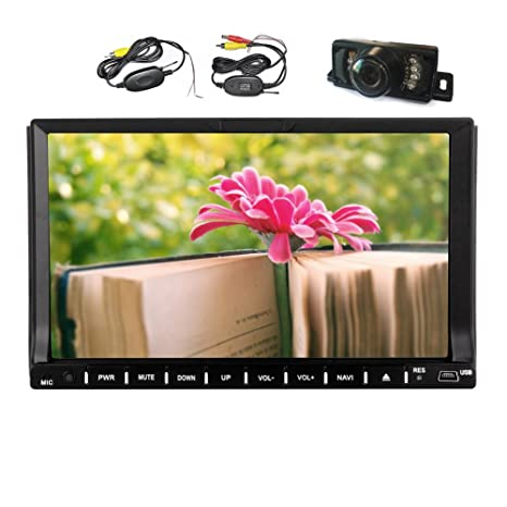 Pur Android 4.4 2 Din Car Stereo Navigation GPS 7 '' 2 Din Radio Car Audio Video Player En pont Head Unit HD šŠcran capacitif multi-touch CamšŠra + WiFi + Autoradio Bluetooth + Wireless Rearview