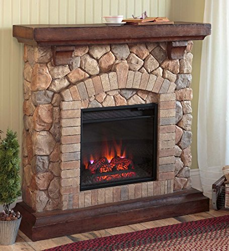 Plow & Hearth Stacked Stone Free Standing Electric Fireplace Heater Realistic Flames 5 Flame Patterns Speeds Brightness Settings Faux Stone Wood Mantel Remote Control Auto Off Timer 40 W x 12 D x 40 H (Faux Fireplace Electric Heater compare prices)