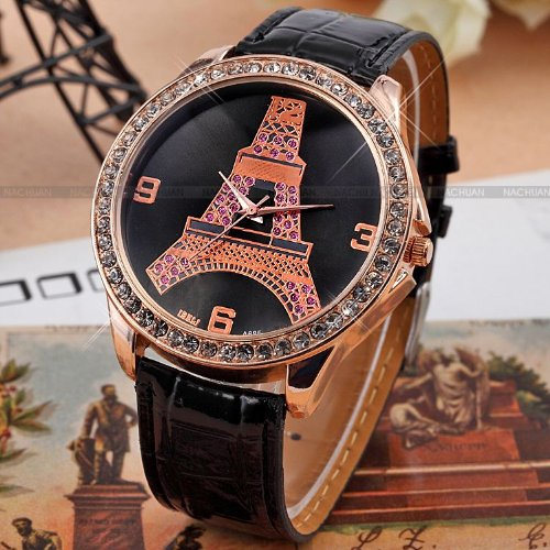AMPM24 New Fashion Crystal Eiffel Tower Lady Women Girl Black Leather Quartz Watch Cool