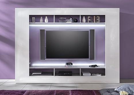 Parete porta tv moderna Dos, mobile soggiorno grigio e bianco, portatv di design