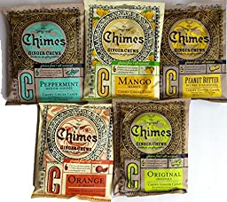 Chimes Ginger Chews Variety Pack: Five 5 Oz. Bags, One Each of Peanut Butter, Mango, Orange, Peppermint and Original