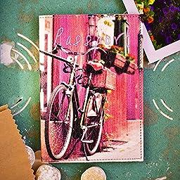 Pink Passport Case for Women - Cute Passport Holder - Passport Book Cover - Leather Document Holder - Bike