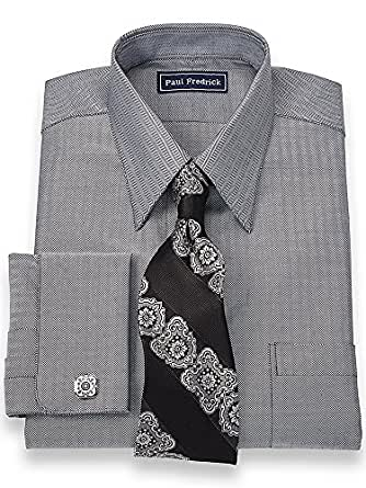 Paul fredrick men 39 s 2 ply cotton straight collar trim fit Straight collar dress shirt